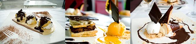 Profiteroles con nata, Milhojas con nata y chocolate y Canutillos de nata