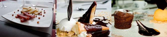 Queso con membrillo y Canutillos de nata con helado y coulant de chocolate